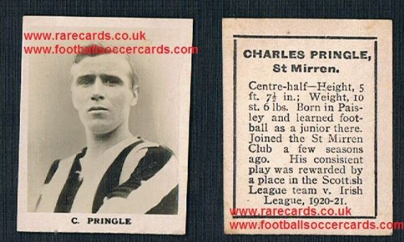 1922 Charles Pringle Man City Manchester Central Stockport Lincoln Rover RP2 football trade card